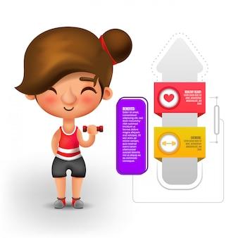 Frau, die mit gewicht mit infografik vorteile trainiert