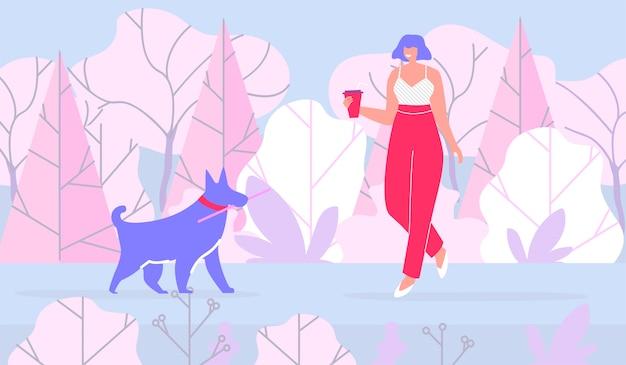 Frau, die mit hund im flachen karikatur-wald geht