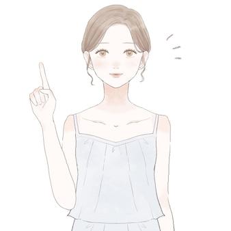 Frau, die mit ihren fingern erklärt hautpflege bild. auf weißem hintergrund.