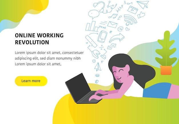 Frau, die mit laptop niederlegt