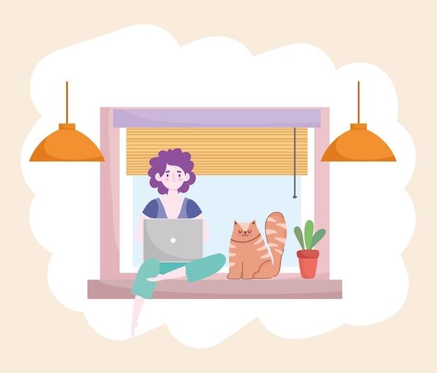 Frau, die mit laptop und katze arbeitet, die auf fenster-hauptbüroillustration sitzen