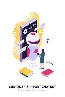 Frau, die mit roboter vor smartphone kommuniziert - chatbot-technologie und konzept der künstlichen intelligenz