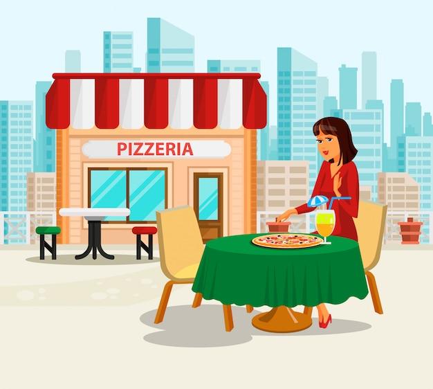 Frau, die mittagspause an der pizzeria-illustration hat