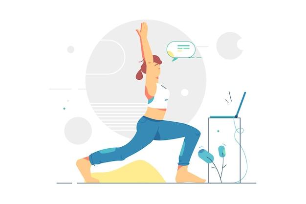 Frau, die morgenyoga in der anzugillustration tut. mädchen, das körper mit händen oben zu hause flachen stil streckt. gesunder lebensstil, sport und aktivität.