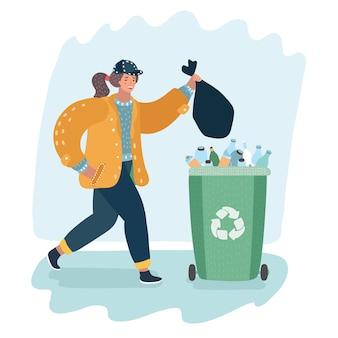 Frau, die müll im recycling-selektivbehälter schleppt