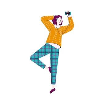 Frau, die musik von der flachen karikaturvektorillustration der telefon-app lokalisiert genießt