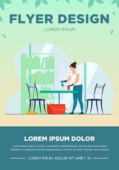 Frau, die nach hause putzt und wäscht. tabelle, wohnung, haus flache vektor-illustration. housekeeping- und hausarbeitskonzept