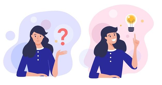 Frau, die nachdenkt und versucht, eine lösung zu finden