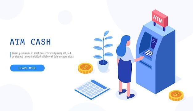 Frau, die nahe geldautomat steht. menschliche warteschlange am geldautomaten, web-cashbox, maschinentransaktion, kann für webbanner, infografiken, heldenbilder verwendet werden. isometrische vektorillustration.