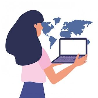 Frau, die on-line-illustration kauft