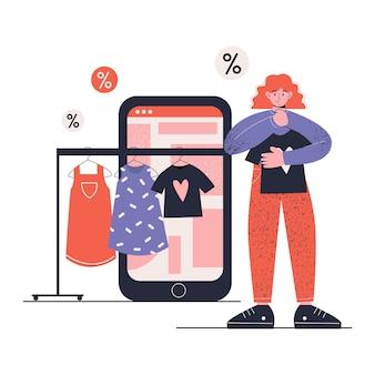 Frau, die online auf handy einkauft. app. online-bekleidungsgeschäft. eben