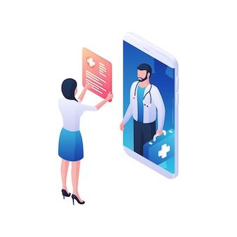 Frau, die online-testimonial des arztes isometrische illustration liest. weibliche figur untersucht web of medical mans lebenslauf auf mobile anwendung. konzept für medizinische internetdienste und soziale foren.