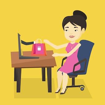 Frau, die online-vektorillustration einkauft.
