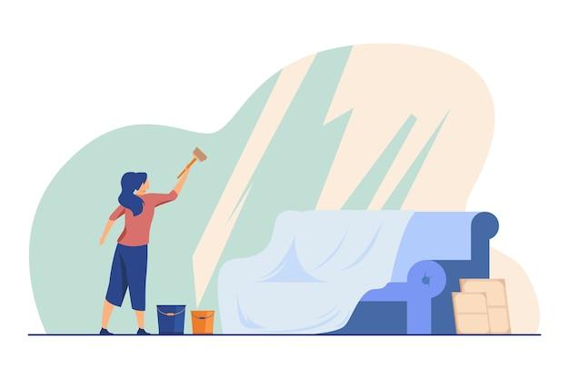 Frau, die panoramafenster wäscht. haus, sofa, eimer flache vektorillustration. reinigungs- und reinigungsservice