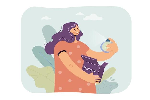 Frau, die parfümillustration genießt