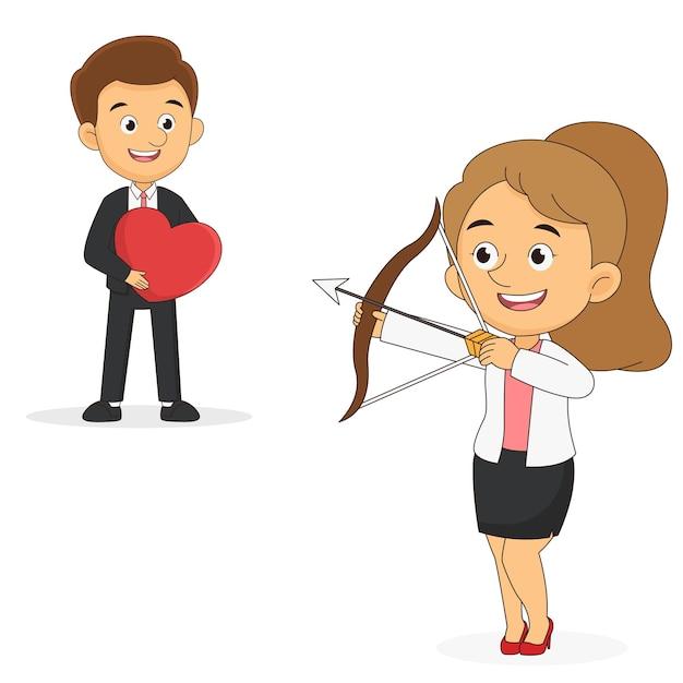 Frau, die pfeile im mann wirft, der herzform-liebe und valentinstag hält