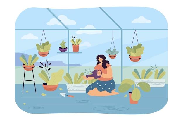 Frau, die pflanzen im innengarten gießt. flache abbildung