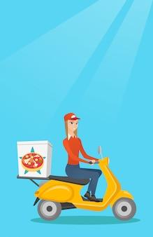 Frau, die pizza auf roller liefert.