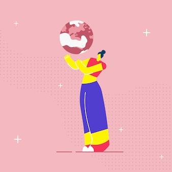 Frau, die planeten-flache vektor-illustration hält