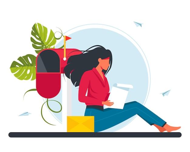 Frau, die post empfängt und brief liest. flache cartoon-vektor-illustration für e-mail, nachricht, kommunikationskonzept. eine frau sitzt und liest einen brief von ihrem geliebten. vektor-illustration