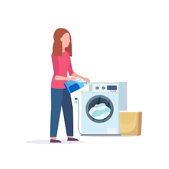 Frau, die pulvergel in waschmaschine hausfrau gießt hausarbeit waschküche zeichentrickfigur in voller länge flachen weißen hintergrund