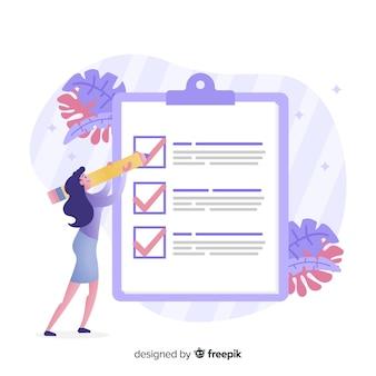 Frau, die riesige checkliste überprüft
