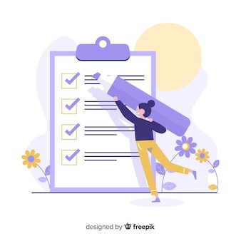 Frau, die riesigen checklistenhintergrund überprüft