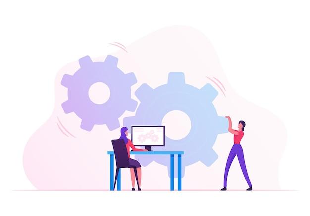 Frau, die riesigen zahnradmechanismus mit händen bewegt, geschäftsfrau, die am schreibtisch mit computerverwaltungsprozess auf pc-bildschirm sitzt. karikatur flache illustration