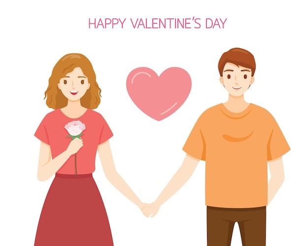 Frau, die rose hält und hände mit mannliebhaber, valentinstag fasst