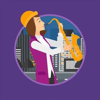 Frau, die saxophon spielt.