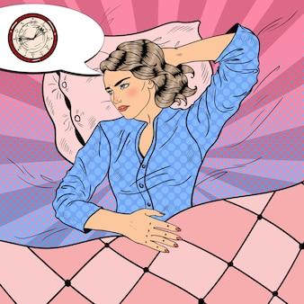 Frau, die schlaflose nacht hat