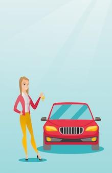 Frau, die schlüssel zu ihrem neuwagen hält.