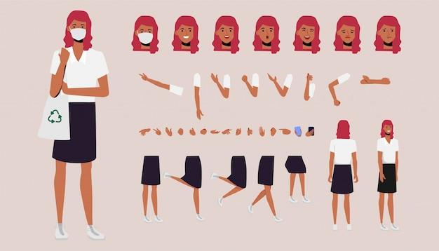 Frau, die schutzmaske trägt. verschiedene arme, beine und gesichtsausdrücke eingestellt