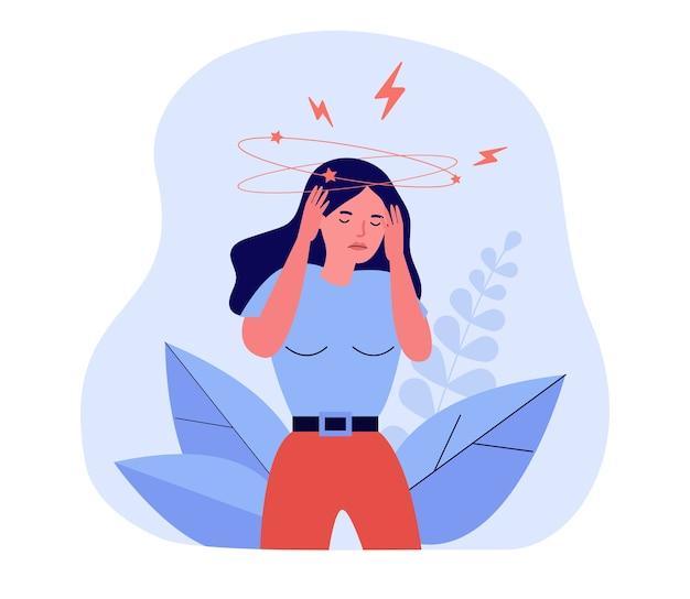 Frau, die schwindel oder schwindelerregende illustration fühlt