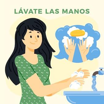 Frau, die seine hände im waschbecken wäscht