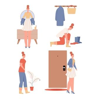 Frau, die sich anzieht oder entkleidet szenen gesetzt.