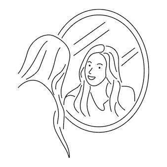 Frau, die sich in einem spiegel betrachtet