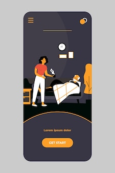 Frau, die sich um älteren mann mit grippe auf der mobilen app kümmert