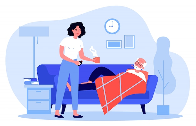 Frau, die sich um älteren mann mit grippe kümmert
