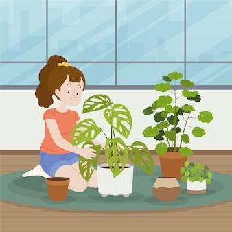 Frau, die sich um das flache design der pflanzen kümmert