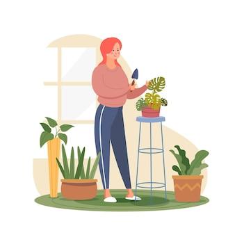Frau, die sich um ihre monsterpflanze kümmert