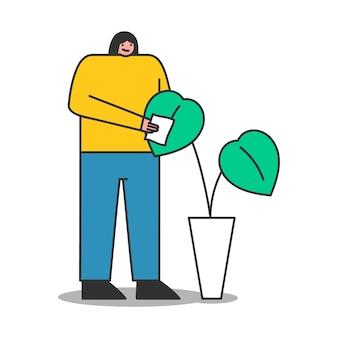 Frau, die sich um zimmerpflanze kümmert. karikatur weiblicher gärtner oder florist, der für pflanze trägt. isolierter charakter