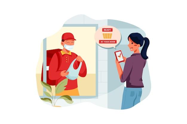 Frau, die smartphone verwendet, um mittagessen nach hause geliefert zu bekommen geliefert