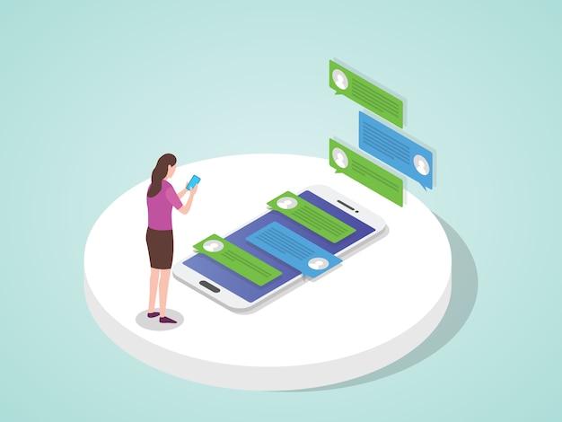 Frau, die sms-nachrichten-chat schreibt, verwenden den flachen cartoon-stil des smartphones