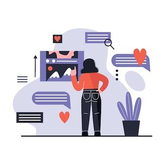 Frau, die social-media-inhalte verwendet. surfen im internet. soziales netzwerkkonzept. flache illustration.