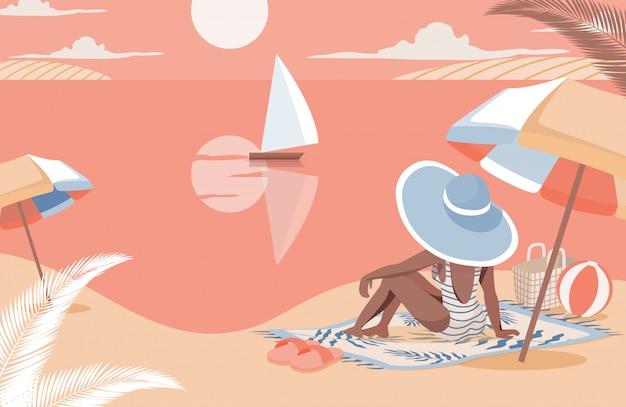 Frau, die sonnenuntergang auf der strandflachillustration trifft. sommerferien, urlaub im seebad genießen.