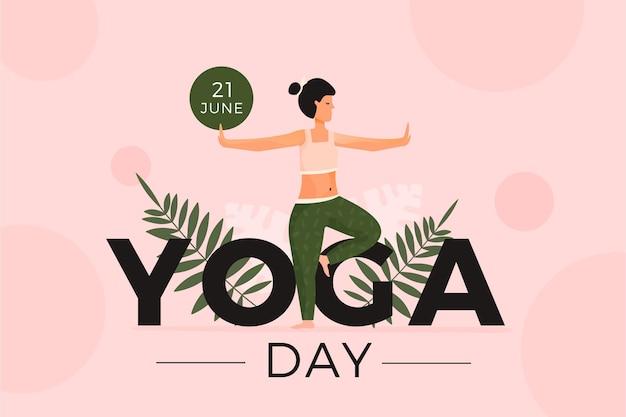 Frau, die sport am yogatag tut