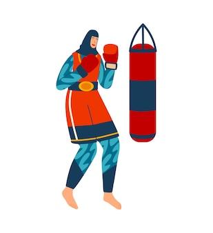 Frau, die sport treibt, trainingsmann in handschuhen arbeitet schlag aus
