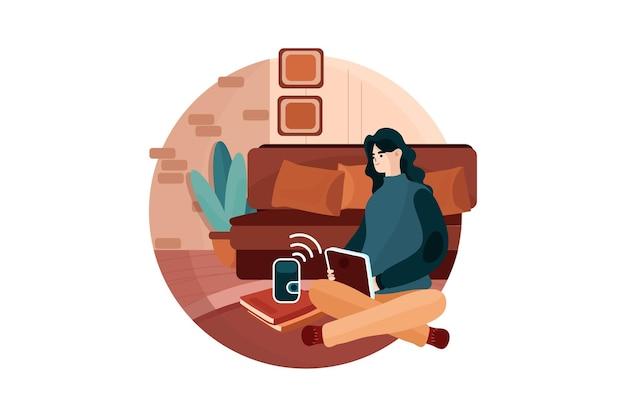 Frau, die sprachbefehle verwendet, um ein smart-home-gerät zu steuern