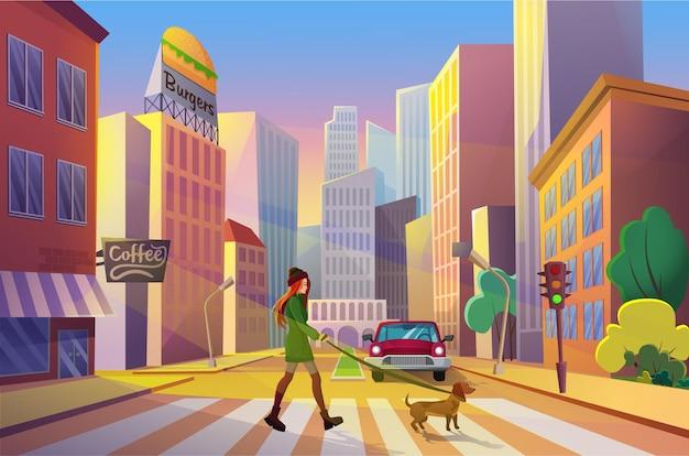 Frau, die straße allein mit ihrem haustier bei sonnenuntergang in karikaturstadt mit städtischen wolkenkratzern kreuzt